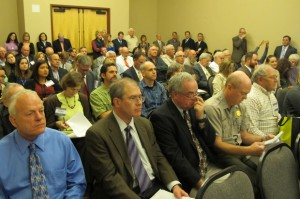 A larger than usual crowd packs the OWRB's monthly meeting in Midwest City to hear the board vote on the maximum annual yield of the Arbuckle-Simpson Aquifer.