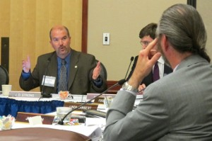 OWRB Executive Director J.D. Strong (left) addresses members of the water board at its Oct. 23 meeting.