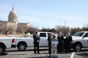 Gov. Mary Fallin at a March 2013 press conference in the parking lot of the capitol, which marked the delivery of CNG-powered Dodge Ram pickups for the state's fleet.