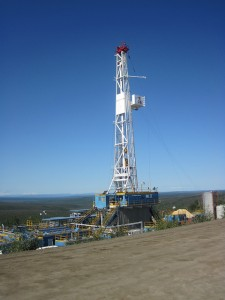 A horizontal drilling rig.