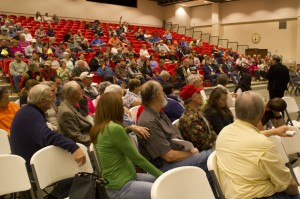 Texoma area residents ask questions during a community meeting at Kingston High School March 15.