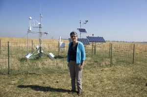 Jean Steiner, director of the U.S. Department of Agriculture's Grazinglands Research Laboratory in El Reno, Okla., stands in front of a sensor array.