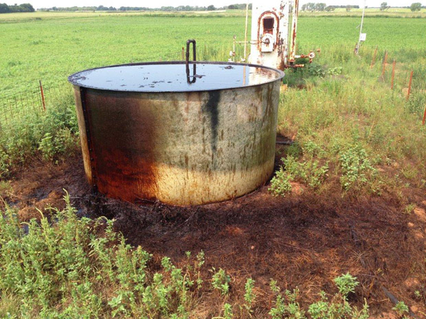 Officials found several dead birds in an open tank at this oilfield site in northwest Oklahoma.