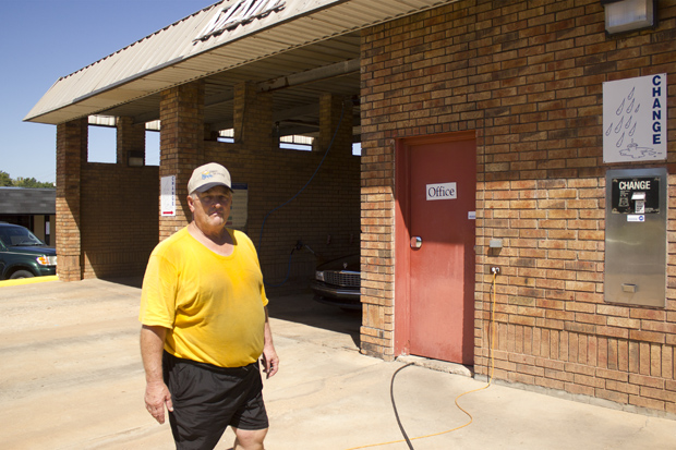 Car wash owner Brenny Aldridge outside Main Street Dirt Busters in Duncan.