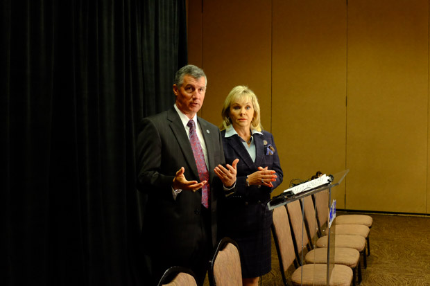 Gov. Mary Fallin and Michael Teague, Secretary of Energy and Environment, talk to reporters at the Governor's Energy Conference in 2014.