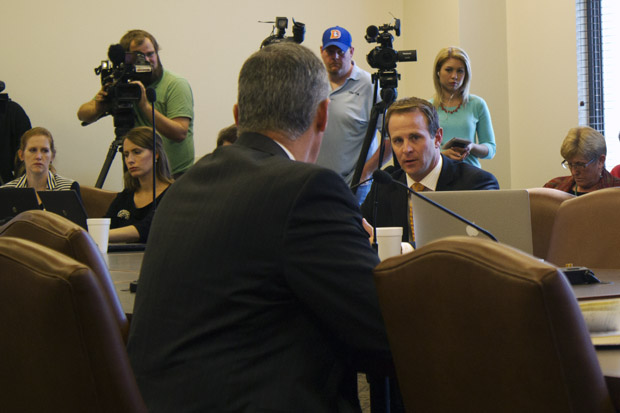 Rep. Cory Williams, D-Stillwater, questions Secretary of Energy and Environment Michael Teague at an interim study and hearing about earthquakes and disposal well oversight held in October 2014.
