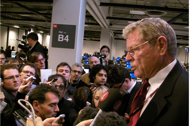 Oklahoma U.S. Senator James Inhofe at an impromptu news conference during climate talks in Copenhagen in 2009.