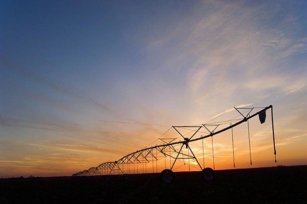 Center pivot irrigation in southwestern Oklahoma.