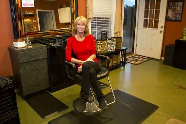 Marla Stevens at her salon south of Stillwater, Okla.