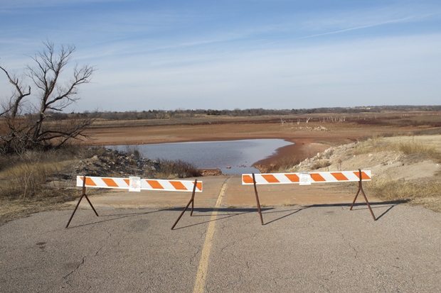 The dry boat ramp at the Chisholm Trail Ridge Campground on the eastern shore of Waurika Lake.