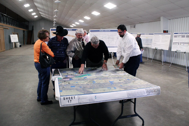 Panhandle residents pouring over maps showing possible routes for the Plains and Eastern Clean Line Project, which, if approved, would funnel wind power from Oklahoma to the southeastern U.S. power grid.
