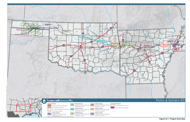 An overview of the proposed route for the Plains and Eastern Clean Line Project.