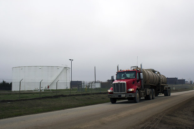 A tanker truck pulling into a terminal at the oil hub in Cushing, Okla.