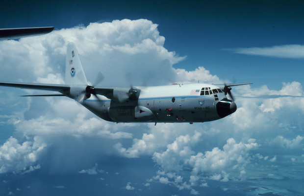 A Lockheed WC-130B used by U.S. government researchers Stormfury, a cloud seeding research project focused on reducing the strength of hurricanes.