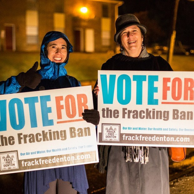 Volunteers watching the polls in November 2014 in Denton, Texas, before voters approved a citywide ban on hydraulic fracturing.