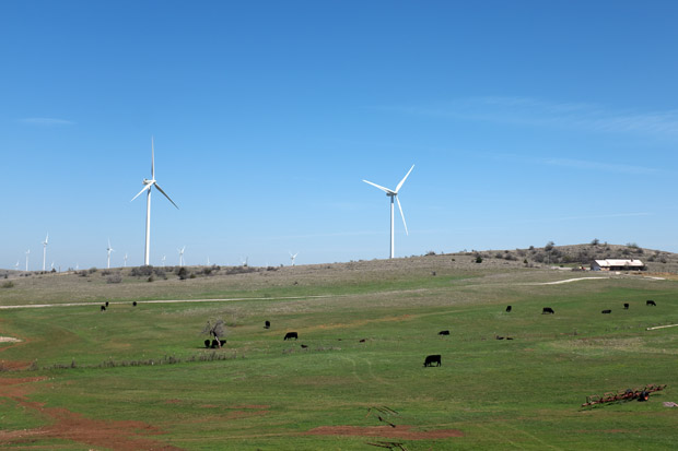 The Blue Canyon Wind Farm and the Kerr family farm in southwest Oklahoma.