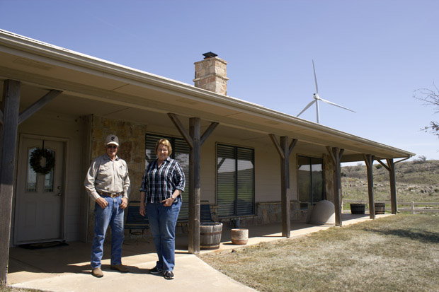 Bob and Becky Kerr are big proponents of wind turbines, which overlook their home in southwest Oklahoma. Money from turbine leases has provided a stable source of income, they say helps offset their volatile farming and cattle business.