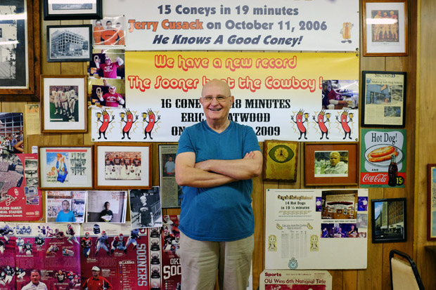 Bill Mihas, owner of Coney Island in downtown Oklahoma since the late 1970s.