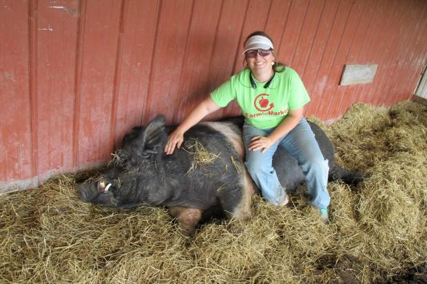 """Coleen Thornton with """"Arnie"""" on her farm near Tahlequah, Oklahoma."""
