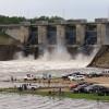 Hugo Lake Dam following recording-breaking rainfall in May 2015.