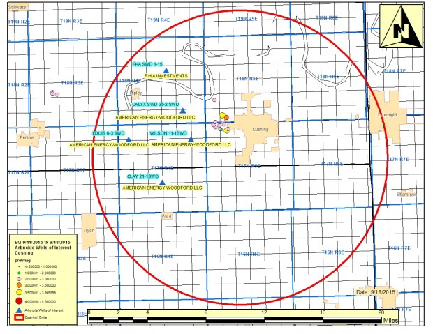 A map from the Corporation Commission details the quake-related disposal well actions issued on Sept. 18, 2015.