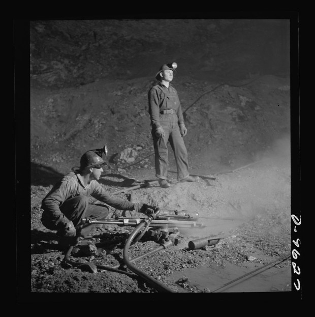 Blast hole drillers at a zinc mine of the Eagle-Picher Company near Cardin, Okla., in 1943.