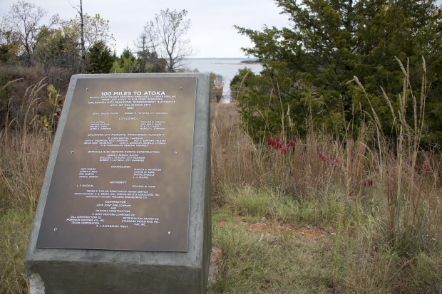 A plaque at the end of the Atoka Pipeline, where it meets Lake Stanley Draper.