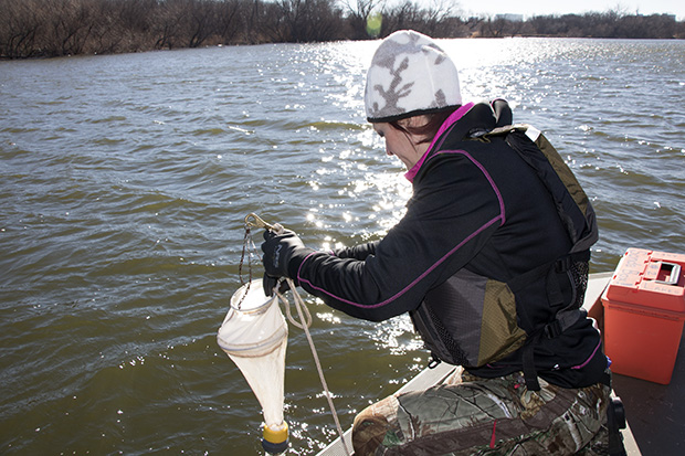 Julie Chambers, manager of the OWRB's lake monitoring program, uses a net and filter to capture tiny zooplankton at Lake Hefner in Oklahoma City.