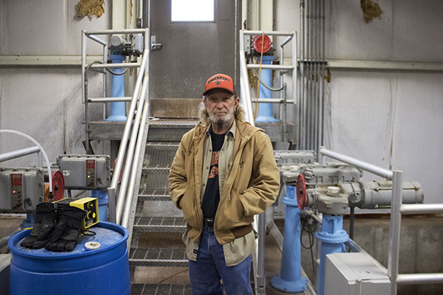 Tim Cross, chief operator of the water treatment plant in Chandler, Okla.