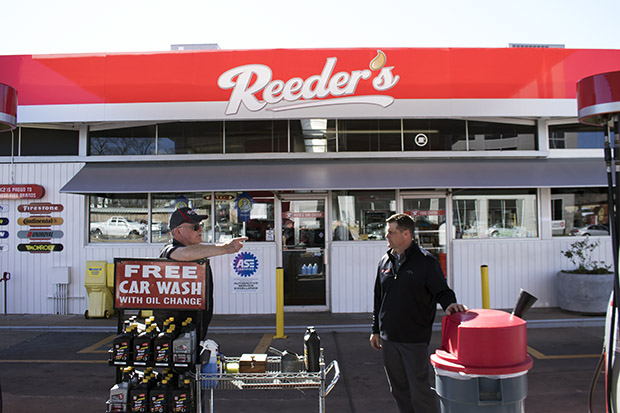 Employee Gene Howell and co-owner Ross Ledbetter at Reeder's Auto and Tire in Midtown Tulsa, Okla.