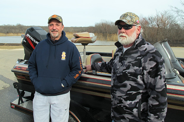 Gary Vanarsdel and Dannie Caldwell wrap up a day on the lake at Dripping Springs State Park near Okmulgee, Okla.