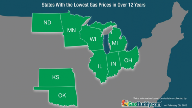 Analysts at GasBuddy, a service that helps customers find gasoline bargains, say fuel prices throughout the middle of the U.S. recently reached 12-year lows.