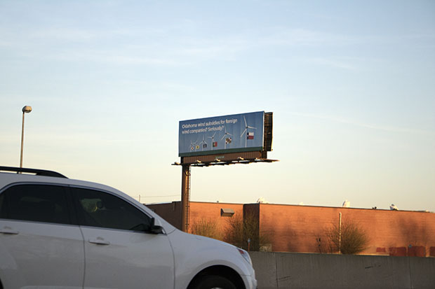 A anti-wind incentive billboard along Interstate 235 in Oklahoma City.