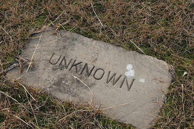 One of several unknown grave sites at the Sardis Cemetery.