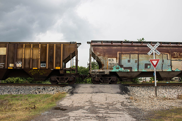 Coal cars line up on a railroad track that feeds the AES Shady Point generation plant near Panama, Oklahoma.