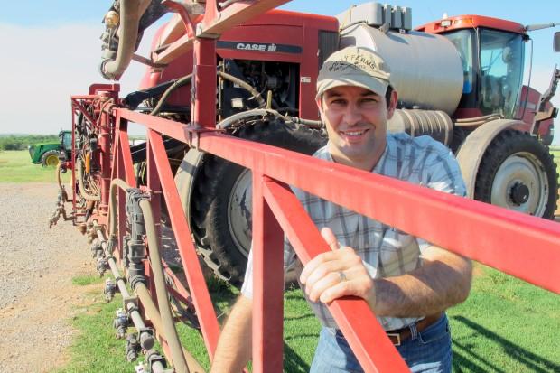 Mason Bolay on his family's farm near Perry in north-central Oklahoma.