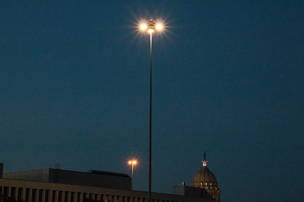 Oklahoma Department of Transportation engineers are testing an LED interchange light tower in the parking lot of its Oklahoma City headquarters.