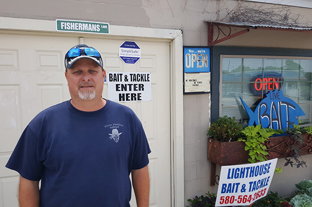 Sheldon Stauffer outside the Lighthouse Bait and Tackle shop in Kingston, Okla.