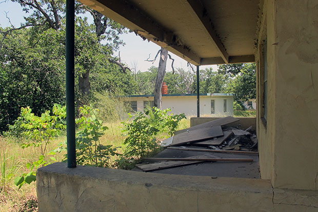 The crumbling remnants of Texoma State Park buildings that haven't been in use for years.