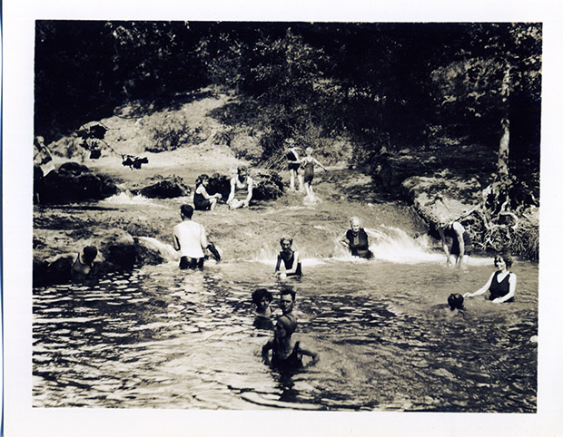 Bathers enjoying a spring-fed pool at Platt National Park in the 1920s.