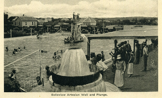 "A postcard from 1924 shows off the ""Vendome Artesian Well"" at Platt National Park."