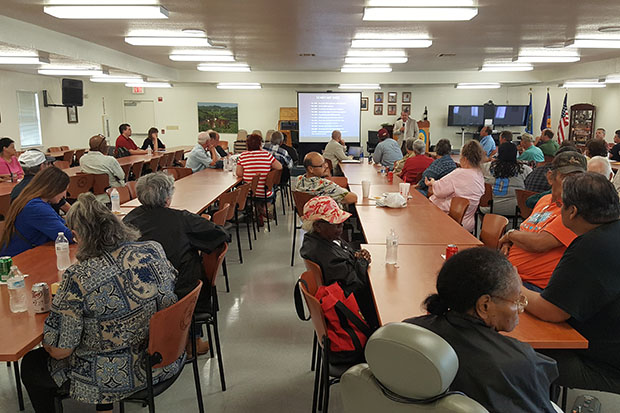 Members of the Choctaw Nation gather at the Hugo Community Center to hear details on the new water deal from attorney Michael Burrage.