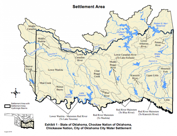 The settlement area detailed in the agreement between the state and Chickasaw and Choctaw nations.