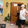 Mona Denney surveys earthquake damage inside her home near Pawnee, Okla.