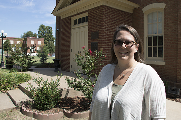 Cherokee Nation Secretary of Natural Resources, Sarah Hill, in front of the Cherokee Nation Courthouse in Tahlequah.