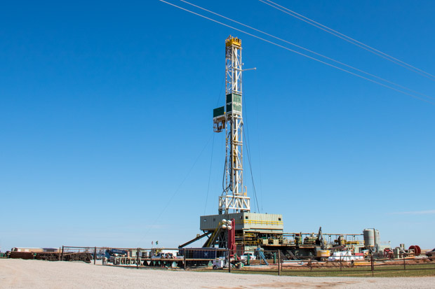 A drilling rig in northwestern Oklahoma's Mississippi Lime oil and gas play.