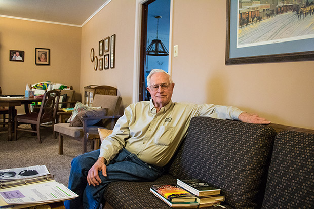 Paul Muegge, a rancher and former state lawmaker, at his home in Tonkawa, Okla.