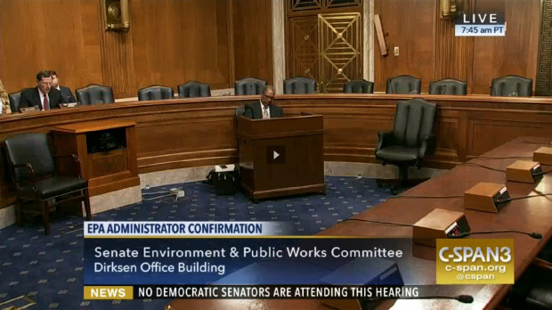 Empty chairs in the Senate Environment and Public Works Committee mark Democrats' boycott of a vote to advance the nomination of Oklahoma AG Scott Pruitt to lead the U.S. Environmental Protection Agency.