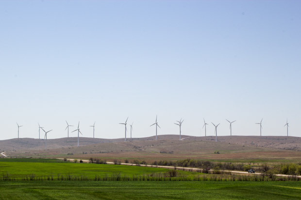 Wind turbines line the horizon in southwestern Oklahoma.