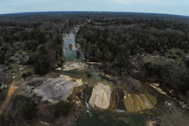 The Slippery Falls area of Pennington Creek north of Tishomingo.